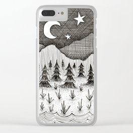 mountainscape doodle Clear iPhone Case