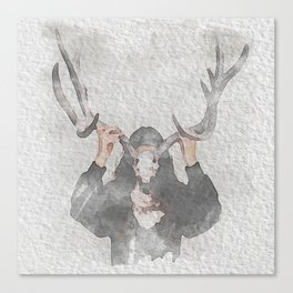 The Girl with Antlers Canvas Print
