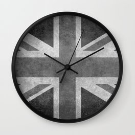 British Union Jack flag in grungy tex Wall Clock