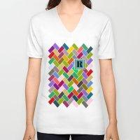 monogram V-neck T-shirts featuring R Monogram by mailboxdisco
