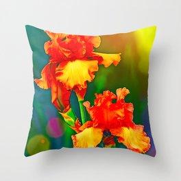 Electrified Orange Iris in the Garden Throw Pillow