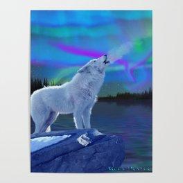 Arctic Prayer - White Wolf and Aurora Poster
