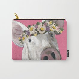 Pig Art, Flower Crown Pig, Farm Animal Carry-All Pouch