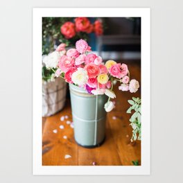 Pail of Flowers Art Print