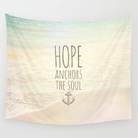 bible Wall Tapestries featuring HOPE ANCHORS THE SOUL  by Pocket Fuel