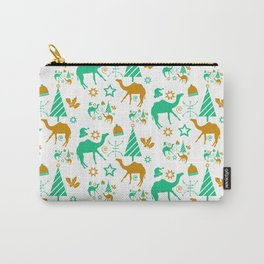 Gold and Blue green camel, symbolic icon Pattern with a Moroccan touch Carry-All Pouch