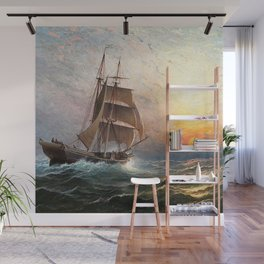 Sailing into the Storm, Sunset, marine nautical landscape by Charles Henry Gifford Wall Mural
