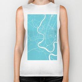 Bangkok Thailand Minimal Street Map - Turquoise and White Biker Tank