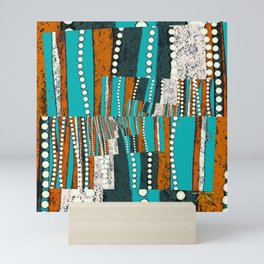 Teal and rustic brown abstract Mini Art Print
