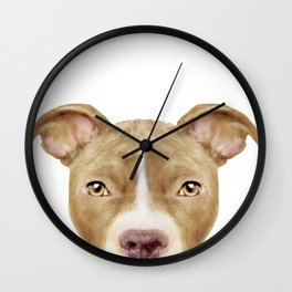 Pitbull light brown, Original painting by miart Wall Clock