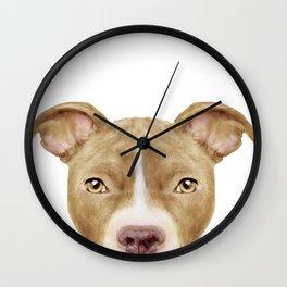 Pitbull light brown Dog illustration original painting print Wall Clock