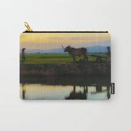 Cambodia, life on the rice field with loyalty cow in Cambodia Carry-All Pouch