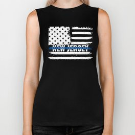 NJ New Jersey State Police Gift for Policeman, Cop or State Trooper Thin Blue Line Biker Tank