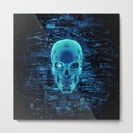 Gamer Skull BLUE TECH / 3D render of cyborg head Metal Print