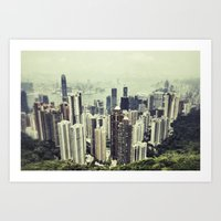 hong kong Art Prints featuring Hong Kong by Martin Llado