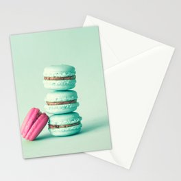 tower of mint macarons, macaroons, over green mint Stationery Cards