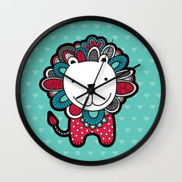 Doodle Lion on Aqua Triangle Background Wall Clock