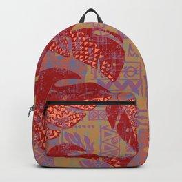 Hawaiian Lava Leaves Tapa Print Backpack