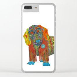 Yellow Mellow Dachshund Clear iPhone Case