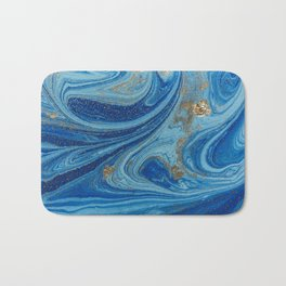Blue & Gold Glitter Bath Mat