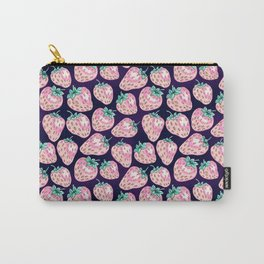 Pink Strawberry pattern on purple background Carry-All Pouch