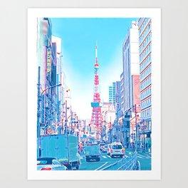 Tokyo Tower Seen from Gaien-Higashi-Dori - Bright Colors Art Print