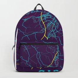 Girona Neon City Map, Girona Minimalist City Map Art Print Backpack