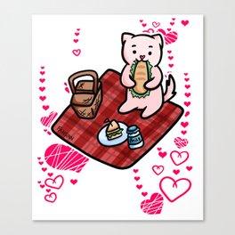 Cat Picnic heart Canvas Print