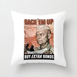 Back 'Em Up -- General Eisenhower Throw Pillow