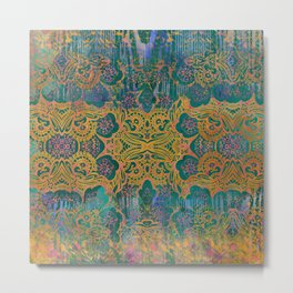 Abstract Pattern:  Watercolor Deep Tones Fancy Prints Teal Ornament Metal Print
