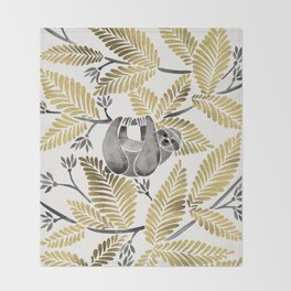 Happy Sloth – Tropical Gold Leaves Throw Blanket