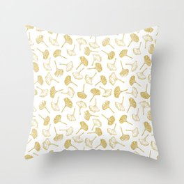 Ginkgo Biloba linocut pattern GLITTER GOLD Throw Pillow