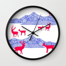 Origami Mountains Wall Clock