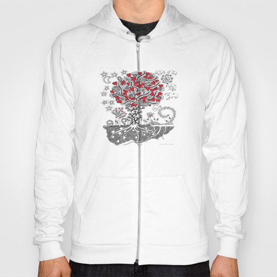 Zentangle Tree of Love - Illustration of Hearts and Love Hoody