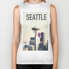 Seattle, Washington Skyline City Biker Tank
