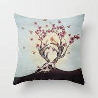 animal skull Throw Pillows featuring Animal Skull and Butterflies by Paula Belle Flores