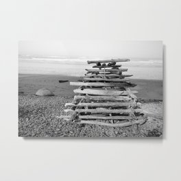 Driftwood Fort Beach Coast Coastal Nautical Seascape Northwest Pacific Ocean Washington Teepee Waves Metal Print