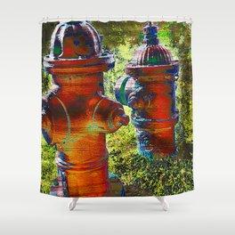 Fire hydrant art vs 3 Shower Curtain