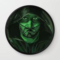 green arrow Wall Clocks featuring Arrow by Digital Sketch