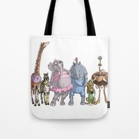 animal crew Tote Bags featuring Animal Mural Crew by Michael Jared DiMotta Illustrations