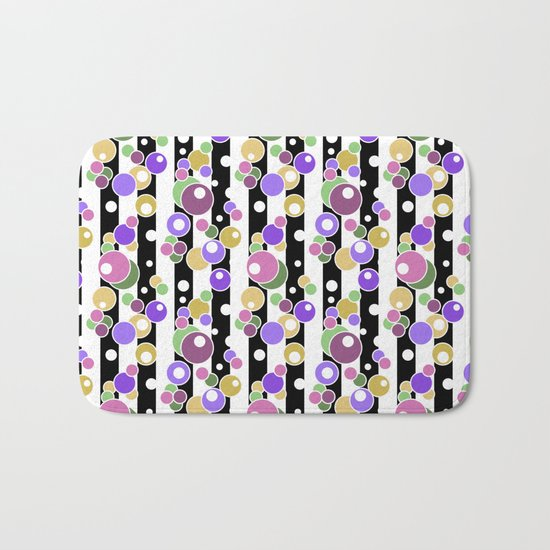 Colorful polka dots on black and white striped background . Bath Mat