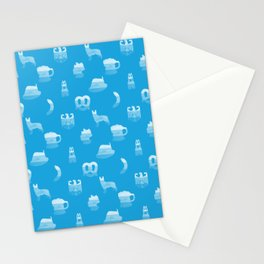 Oktoberfest Bavarian October Beer Festival Motifs in Bavarian Blue Stationery Cards