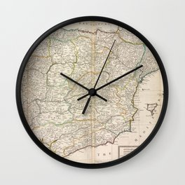 A new & exact map of  Spain and Portugal, divided into its kingdoms and principalities &c.  Wall Clock