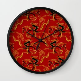 Gold Horse in Red Wall Clock