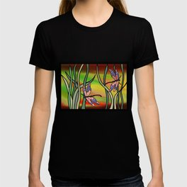 dragonflies in the grass on a colored background T-shirt