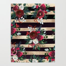 Holiday Watercolor Red Floral Gold Stripes Poster