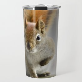 Red squirrel perched on a wooden fence Travel Mug