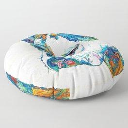 Colorful English Bulldog Art By Sharon Cummings Floor Pillow
