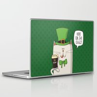 irish Laptop & iPad Skins featuring Saint Patric's cat, Cat cartoon characters, Irish Cat cartoon, ZWD004 by ZeeWillDraw