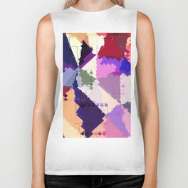 geometric square pixel and triangle pattern abstract in pink purple blue Biker Tank